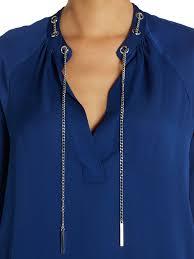 michael kors blouses lyst michael kors sleeve chain neck silk blouse in blue