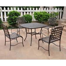 Oval Wrought Iron Patio Table by International Caravan Santa Fe 4 Person Wrought Iron Patio Dining