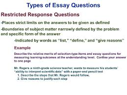 essay sample questions edu 385 session 10 writing supply items short answer and essay types of essay questions