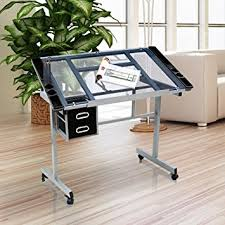 Foldable Drafting Table Yaheetech Adjustable Drafting Drawing Table Rolling