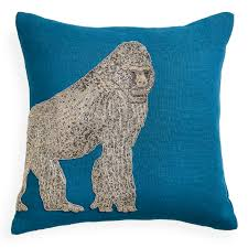 Zoological Shower Curtain by Zoology Gorilla Blue Throw Pillow 16 X 16 Jonathan Adler