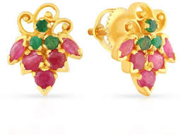 malabar earrings buy malabar women s 22k 916 gold ruby and emerald precia stud