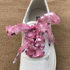 ribbon shoe laces 1 pair snowflake yarn flat satin silk ribbon shoelaces shoe laces