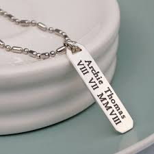 personalised necklaces men s personalised silver vertical bar necklace indivijewels