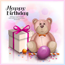 teddy in a balloon gift happy birthday greeting card gift box with pink ribbon pink