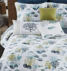 Coastal Quilts Coastal Nicole Miller 2 King Shams Set Blue Sea Shells Fish