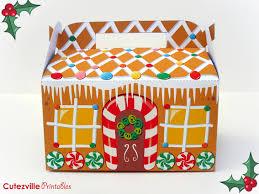 printable pdf christmas gingerbread house gift box with editable
