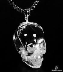 silver rock necklace images Transparent quartz rock crystal carved crystal skull pendant with jpg