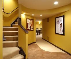 interior small house design with simple staircase using brown