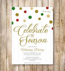 celebrate the season holiday party invitation red green gold