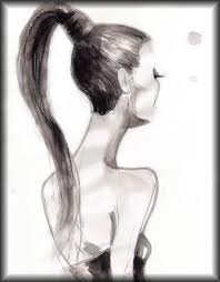 drawn long hair fashion illustration pencil and in color drawn