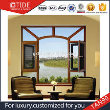 wooden design casement windows with tempered glass screen