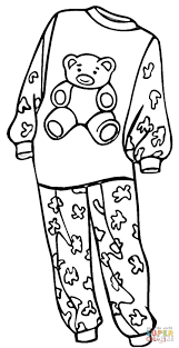 pajamas for a coloring page free printable coloring pages