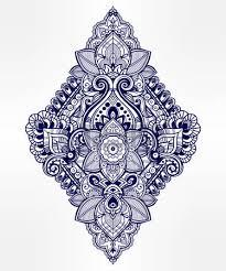 beautiful bohemian floral paisley ornament folk henna tattoo
