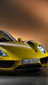 porsche side view porsche 918 spyder in yellow color front and side view 1080x1920