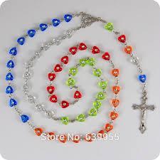 religious jewelry stores new multi colors heart rosary inri jesus cross crucifix