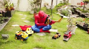 fire truck excavator trucks spiderman and friends video for
