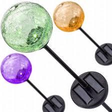 12 Inch Glass Gazing Balls Deneve Solar Garden Stake Lights 3 Pack Cracked Glass Led Outdoor Pat