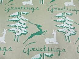 deco wrapping paper 4 yards 1940 s antique deer wrapping paper vintage tree deco