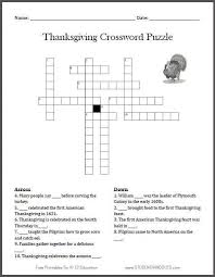 crossword thanksgiving a free printable thanksgiving word search