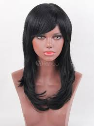 pic of black women side swept bangs and bun hairstyle human hair wigs long straight women s side swept bangs black hair