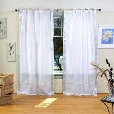 amazon com white silver tie top sheer sari curtain drape