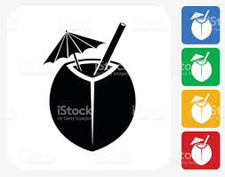 cocktail icon vector coconut cocktail icon flat graphic design stock vector art