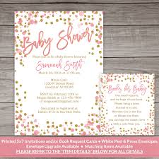 All White Baby Shower Invitations Pink And Gold Baby Shower Invitation Printed Invitations Pink