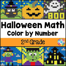 halloween math color by number 2nd grade u2013 games 4 gains