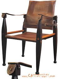 chaise coloniale fauteuil safari bois cuir laiton mf041