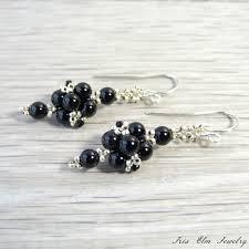 black onyx earrings black onyx small dangle earrings iris elm jewelry unique