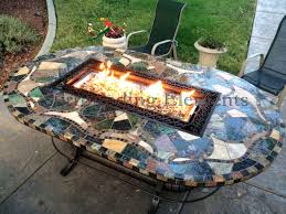 Patio Table Fire Pit by 4 5 U0027 X 7 5 U0027 Oval Mosaic Table With Rectangular Crystal Fire Wavy