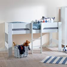 kids heidi mid sleeper in white single beds cuckooland