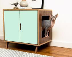 litter box side table mid century modern pet furniture cat litter box by modernistcat
