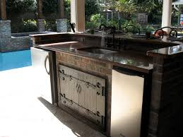 Outdoor Kitchen Faucet by Magnificent White Color Wooden Pergola Featuring Red Bricks