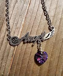 purple necklace chain images Angel quot word swarovski crystal heliotrope purple blue heart pendant jpg