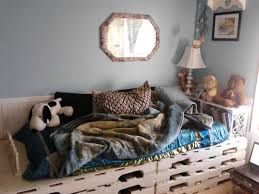 pallet bed with a milk crate bookshelf headboard things i u0027ve