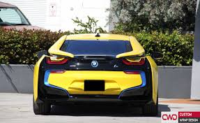 Bmw I8 Black And Blue - bmw i8 wrapped in 3m bright gloss yellow car wraps miami