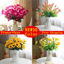 Artificial Flowers In Vase Wholesale Quality Plastic Vase Silk Flowers Artificial Flower Set Home