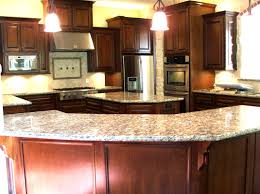brown polished cherry wood kitchen cabinet and curvy kitchen kitchen brown polished cherry wood kitchen cabinet and curvy kitchen island with white marble countertop