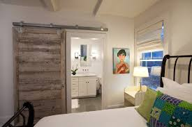bypass barn door hardware bedroom contemporary with art barn door