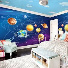 Cartoon Wall Painting In Bedroom Custom Mural Wallpaper 3d Cartoon Planet Solar System Photo