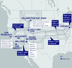 Amtrak California Zephyr Map by Us National Parks Railbookers