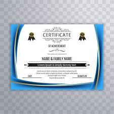 Blue Certificate Template wavy blue certificate template vector free