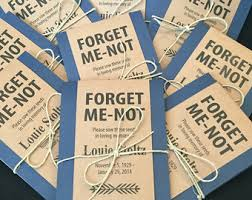 forget me not seed packets personalized memorial forget me not seed packets with blue floral