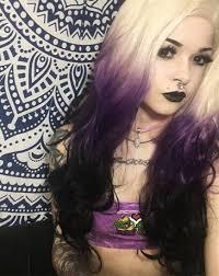 halloween doll wig heahair new fashion ombre rainbow blonde purple black handtied