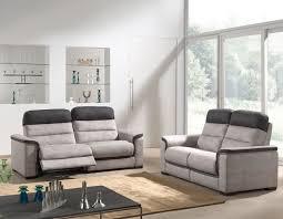 ensemble de canapé ensemble canapé relax gris et noir en tissu mozart canapé relax