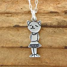cat necklace sterling silver images Sterling silver ballerina necklace jpg
