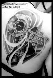 Bass Guitar Tattoo Ideas I Like The Style Trumpet Tattoo Tattoo Ideas Pinterest