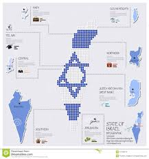Map Of Isreal Dot And Flag Map Of State Of Israel Infographic Stock Vector